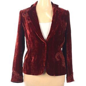 "Reba 14 "" Gala"" Rust brick red Velvet Jacket $148"